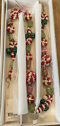 Christopher Radko Glass Garland. Retired 1990's Minty Sweets Candy/candy Cane