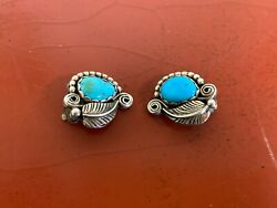 Vintage Navajo Sterling Silver And Turquoise Clip On Earrings