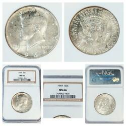 Rare 1964 Set Of 5 Kennedy Presidential Coins Silver America 50c Ngc