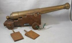 Vintage Large Brass Naval Desk Cannon Signal Pirate Ship Boat Heavy