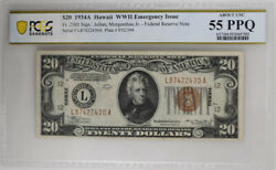 1934a 20 Hawaii Wwii Emergency Issue Pcgs About Unc 55 Ppq