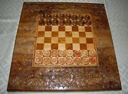 Game Board Box W/ Wood Inlay Hand Carved With 32 Wooden Games Pieces