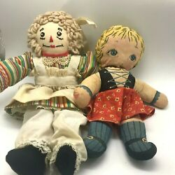 Vintage Handmade Raggedy Anne And Cloth Heidi Dolls Lot Painted Faces 10-12