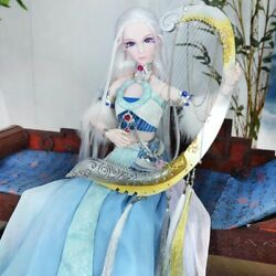 24in Bjd Doll 1/3 Full Set Ancient Girl With White Hair Makeup Diy Birthday Gift