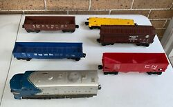 Lionel 8351 Santa Fe Locomotive And 5 Freight Cars All Lionel O Gauge