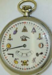 Rare Antique Masonic Fancy Dial Digital Hours Longines Pocket Watch C1930and039s
