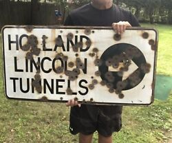 Rare Vintage New York City New Jersey Lincoln Tunnel Porcelain Sign Circa 1940's