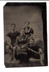 6t Plate Tintype Sexy Bathers Couples Victorian Swim Suits Light House Backdrop