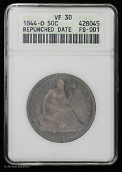 1844-o 50c Seated Liberty Half Dollar Anacs Vf 30 | Soap Box Repunched Date