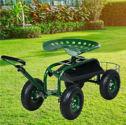 Garden Rolling Work Seat Rubber Tires Mesh Basket Tool Tray Adjustable Heigh