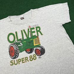 Vintage 90s Oliver Super 88 Tractor Farm Agco White Seed T Shirt Tee Mens Xxl