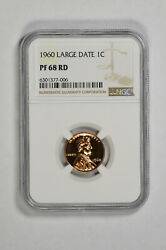 1960 Large Date Proof 1c Lincoln Memorial Cent Ngc Pf 68 Rd