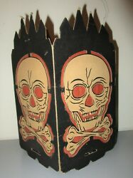 Original Old Halloween Die-cut Skull And Cross Bones Lantern Candy Container As Is