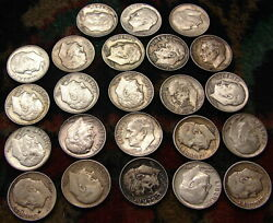 500--roosevelt Dimes 1946-1964 90 Silver----50.00 Fv----all 90---free Ship