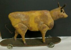 Very Rare Original Carved Wooden 13 Antique Steer Pull Toy In Early Paint
