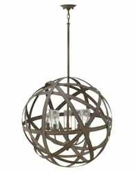 Hinkley Carson 5-light Outdoor Hanging Light In Vintage Iron