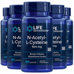 Life Extension N-acetyl Cysteine Nac 600mg 60 Caps [5 Bottle Pack]