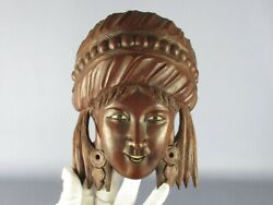 Mask Chinese Wooden Wall Head Face Woman Art Eastern Xx Century