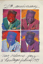 Jazz Fest 1989 Poster Fats Domino By Richard Thomas Signed 2395/2500