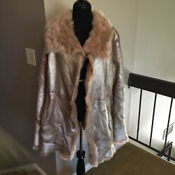 Andrew Marc Gold Leather Lamb Fur Lined Trimmed Shearling Womenand039s Coat Xl New