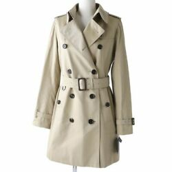 London B1a59 Lining Check Woolliner Logo Button With Belt Trench Coat