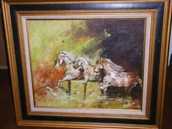 Art Hand Painted Oil Groovy 70and039s Green Yellow Running Horses Abstract Baron