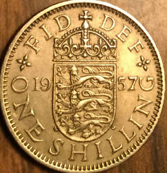 1957 Uk Gb Great Britain One Shilling Coin