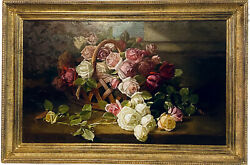Antique Edward Chalmers Leavitt Oil Painting On Canvas Floral Still Life Ca 1886