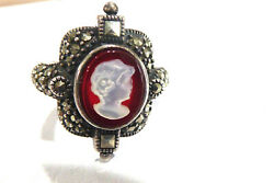 Vintage Sterling Silver Mother Of Pearl Cameo Carnelian Marcasite Ring Sz 6.75