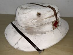 Extremely Rare Ww2 British Army Medical White Pith Helmet Bombay Bowler 1940s