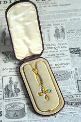 Antique Victorian English 15k Gold Turquoise Cross Pendant Necklace Boxed C1870