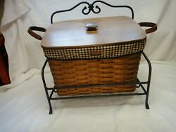 Longaberger Newspaper Basket With Lid Wrought Iron Stand 2 Liners Rich Brown