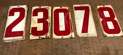 14 Vintage Rustic Gas Service Station Metal Red White 7 X 9 Numbers Price Sign
