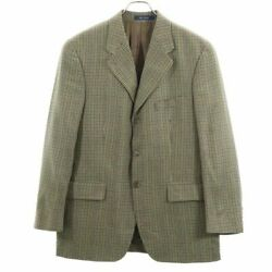 Secondhand 80s Plaid Tailored Jacket 40r Brown System Made