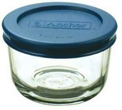 1-cup Round Food Storage Containers Clear Glass With Blue Plastic Lids