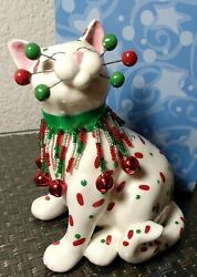 Amy Lacombe Whimsiclay 2004 Cat Figurine Belle 87110 Christmas