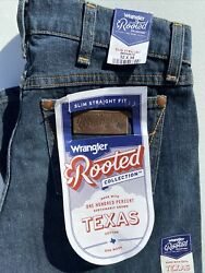 ☆nwt Wrangler Rooted Menand039s Texas Grown Slim Straight Jeans Size 32x36