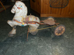 Antique Pedal Horse With Buggy For Rehab