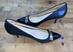 Coach Bowery Glove A4756 Black Leather Gold Buckle Pumps 7 B