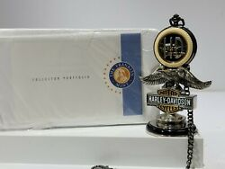 Franklin Mint Harley Davidson Precison Pocket Watch And Eagle Stand W/tag