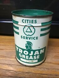 Vintage Cities Service 1lb Trojan Grease Can Advertising Gas Station
