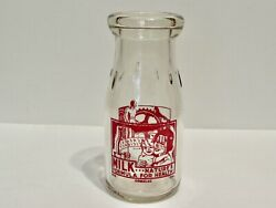 Vintage Clear Glass Milk Bottle 1/2 Pint Comalac Clear Red Lettering