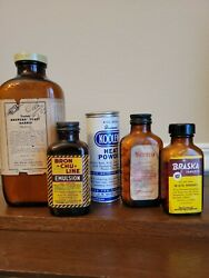 Vintage Medicine-pharmacy Bottles And Can Lot Of 5