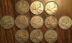 Lot Of 11 Canada Silver 25 Cents Quarter Coin - Silver Invest Lot H2