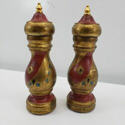 Vintage Set Salt And Pepper Shakers Red Gold Florentine Tole Italian Made In