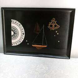Mid Century Couroc Black Navigation Nautical Serving Tray Sailboats Handcrafted