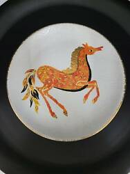 Mid Century Modern Abstract Horse Plate Signed Italy Vintage Art Pottery