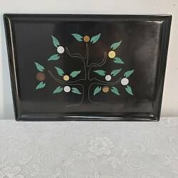 Mid Century Modern Couroc Black Coin Money Tree Serving Tray Handcrafted
