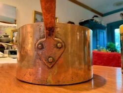 Antique Dove-tailed Copper Cooking Pot Saucepan With Long Handle