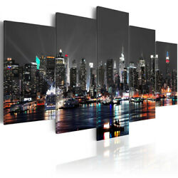 5pcs Huge New York Night Canvas Print Painting Paintings Pictures Art Wall Home